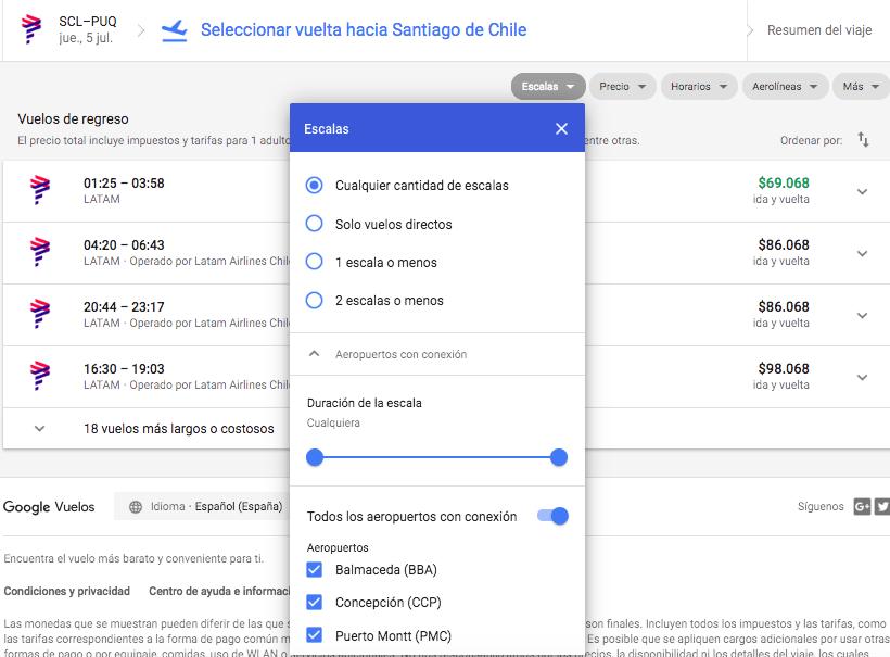 Escalas Google Flights