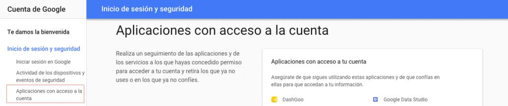 aplicaciones con acceso a la cuenta
